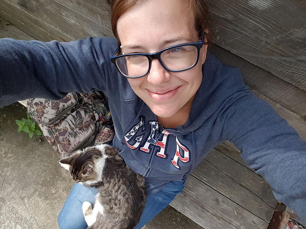 Katze Druga auf meinem Schoß